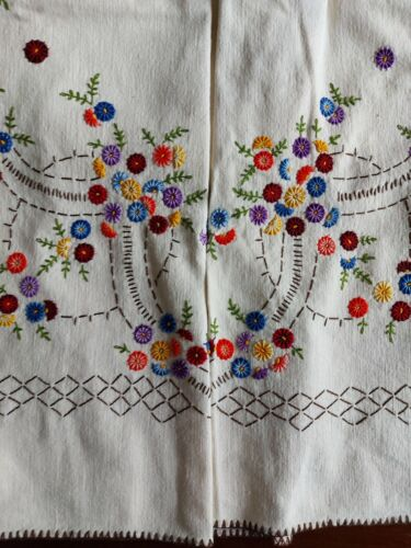 ANTIQUE Vintage Handmade Embroidery Linen Tablecloth Pale yellow Spring Flowers