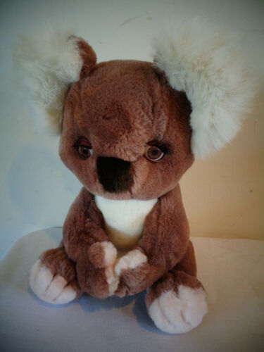 "VINTAGE 1985 HUGGINPUFF SLEEPY EYES KOALA BEAR 11"" BROWN PLUSH STUFFED ANIMAL"