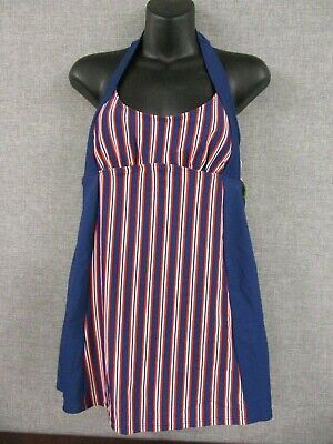 Women's Red/White and Blue 1 Piece Modest Halter Swimsuit Dress Size 6 NWT