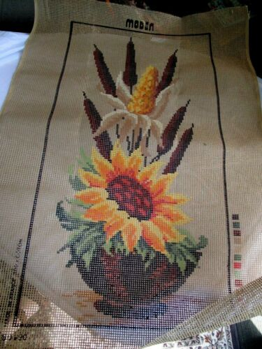 Moden France Latch Hook 43 x 29  Wall Hanging Stamped Canvas Sunflower Cattials