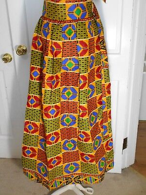 Womens African Kente Handmade Fabric Print Skirt With Belt 40''x 43''