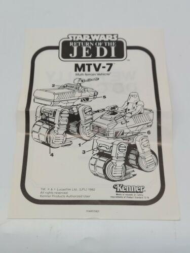 Vintage Star Wars Return of the Jedi MTV-7 Instructions