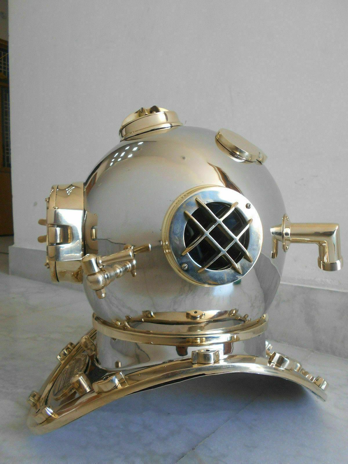 Solid Copper Brass Mark V Diving Divers Helmet U.S Navy Nautical Full Size 18  - $236.55