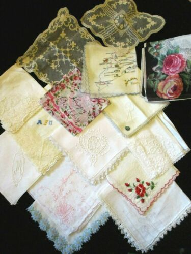 15 FABULOUS Vintage LADIES HANKIES - LACE EMBROIDERED Floral Hanky LOT