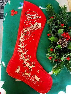 VINTAGE RED FELT STENCILED MERRY CHRISTMAS SANTA CLAUS&SLEIGH&REINDEER STOCKING