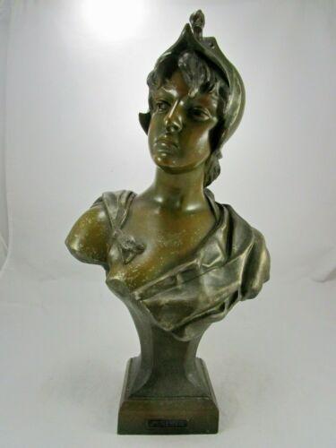 "Antique French Art Nouveau Spelter Bronze Lady Minerva 17"" Head Bust"
