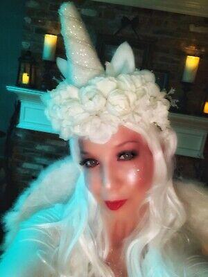 Unicorn Costume Wig (GORGEOUS Homemade White Unicorn Crown Headdress & Tail, Wig, Skirt for)