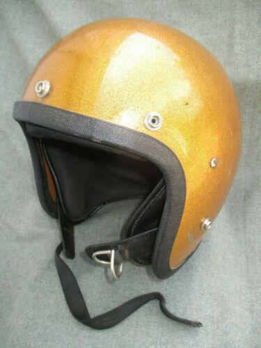 VINTAGE 1970s ? METAL FLAKE GOLD GLITTER MOTORCYCLE HELMET LSI-4150
