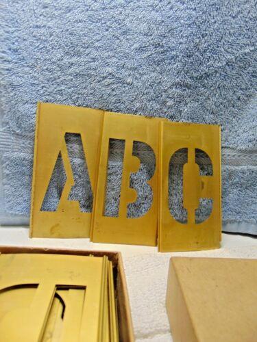 """Vintage General Stencil Inc 3"""" Brass Stencil 45 Piece Set"""