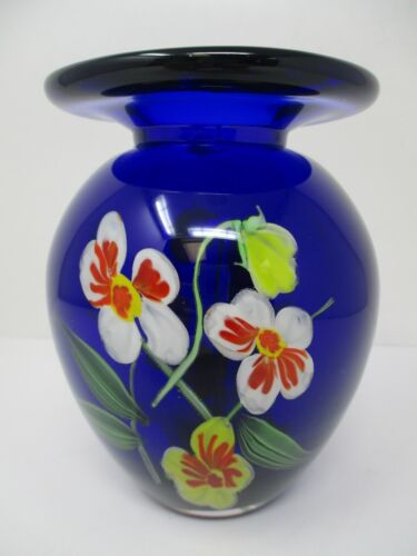 "Vintage Cobalt Blue Heavy Hand-Blown Glass 5.5"" Floral Bud Vase"