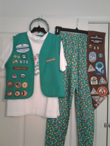 1996-Girl Scout Vest w/Badges, Patches & Pins/Top/Leggings/Headband/Extra Sash