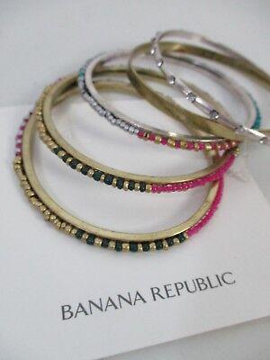 Banana Republic Pink Turq Gold Bead Crystal Stackable Bracelet Set NWT $50