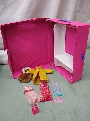 Vintage 1998 Mattel Barbie Doll Case Holder Package Wardrobe Closet Dresser Pink