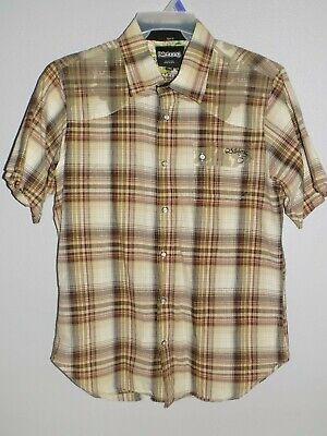 Billabong Mens Slim Fit Short Sleeve Button Down Shirt Size L Plaid Camo