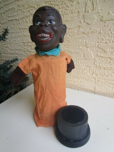 VINTAGE LARGE BLACK MAN AMERICANA RUBBER HEAD CANDY CONTAINER