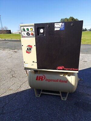 Used 10-hp Ingersoll Rand Up-6 Rotary Air Compressor Tank Mount