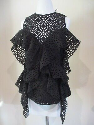 ACLER black eyelet lace ruffle zipper back sleeveless blouse shirt top sz 6