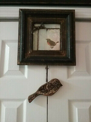 UPCYCLED Tiny-minded BIRD FRAMED PICTURE SHABBY CHIC YARN FLOWERS HANGING DECOR