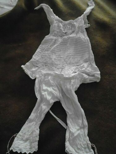 VICTORIAN DOLL/BABIES UNDERCLOTHES/NIGHTIE AND LONG JOHNS-EMBROIDERED COTTON