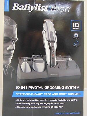 Babyliss For Men 10 in 1 Pivotal Grooming System - Face & Body Trimmer -