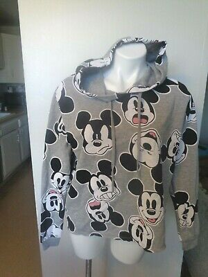 Disney Mickey Mouse Hoodie women's XL heather grey light weight Pull over NEW!
