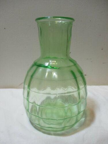 VINTAGE Anchor Hocking Green Depression Vaseline Glass Block Optic Bottle Vase