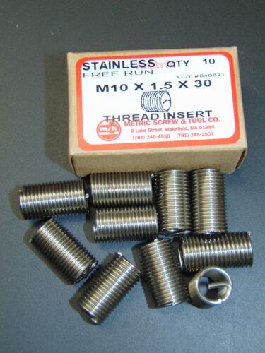 M10 x 1.5 x 30 S/S HELICOIL STYLE THREAD INSERT *BOX OF 10 PCS*  (3X DIAMETER)