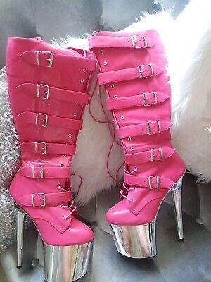 Hot pink platform Pleaser boots 8 inch Size 9
