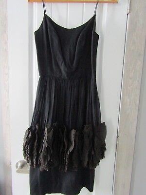 Vintage Jr Theme New York Black Cocktail Party Ruffled Skirt Dress Size 13 (New York Theme Party)