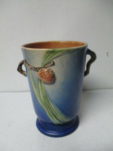 Vintage Roseville Pottery - Beautiful Christmas BLUE PINECONE Handled Vase
