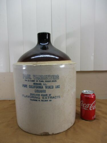 RARE Antique CHICAGO ILL Vandenberg Brown Top Stoneware Liquor Pottery Crock Jug