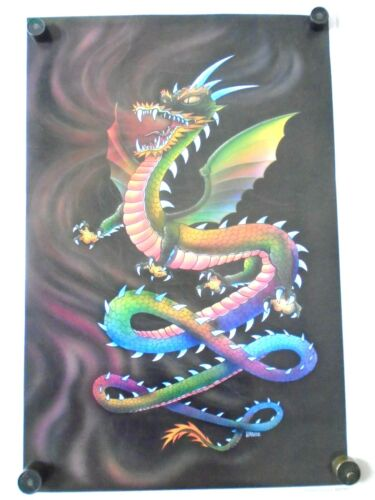 """RAINBOW DRAGON #548 - Fantasy art - Orig. poster in Exc.+ new cond. / 22 x 33"""""""