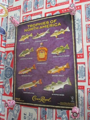 """NEW VTG 2010 CROWN ROYAL WHISKEY """" FISH IN MOTION """" BAR SIGN FISHING POSTER BEER"""