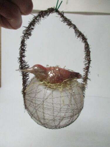 Old Glass Christmas Ornament - Wire Wrapped Bird on Frosted Nest w Tinsel Hanger