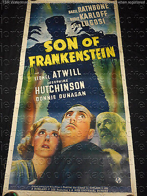 SON OF FRANKENSTEIN 1939 * KARLOFF * LUGOSI * THREE SHEET * UNIVERSAL HORROR!!
