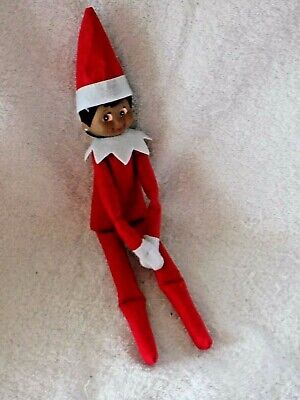 "12""An Elf On The Shelf Style Dark Skin Red Girl Doll Unbranded Christmas Holiday"