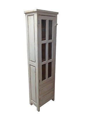 Duma Rustic White Wash Bathroom Linen Cabinet with Glass Door