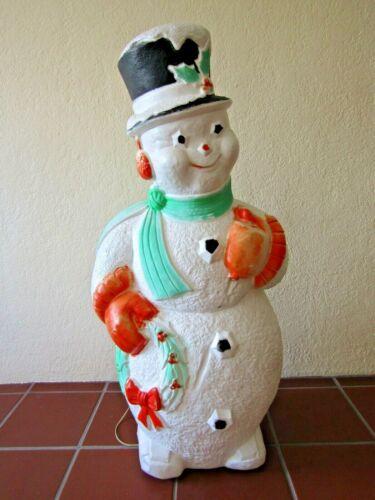 Illuminated Poloron Snowmen Blow Mold Yard Decoration 45 Inches High