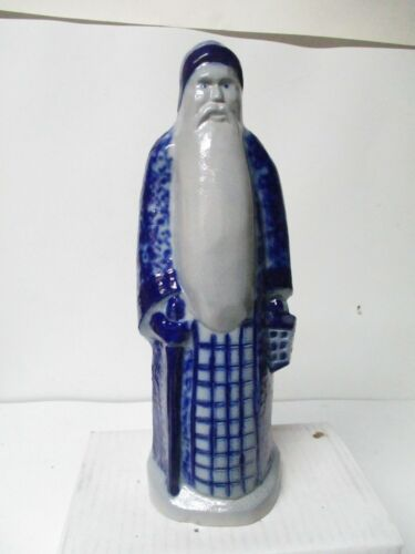 1992 Eldreth Pottery of PA - Father Christmas In Blue Coat w Cane & Lantern