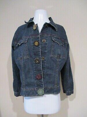 Cabi Blue Denim Decorative Button Jeans Jacket Sz L +*