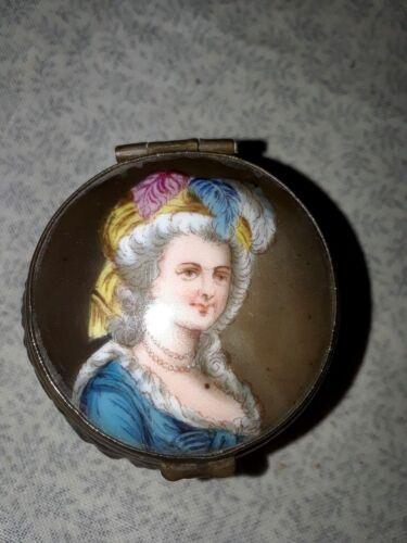**SALE**Marie Antoinette hand-painted Porcelain Portrait on Crystal Dresser Jar