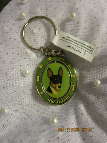 SPINNING METAL RAT TERRIER KEY CHAIN