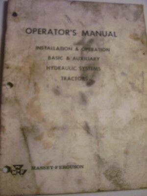 Vintage Massey Ferguson Operators Manual- Basic Aux Hydraulics