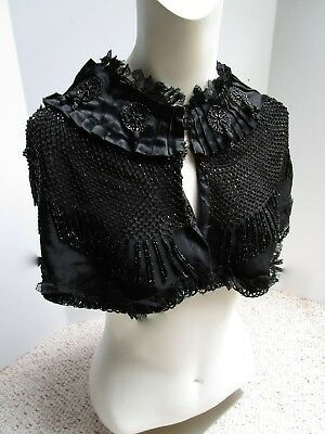 Antique1880's Satin Mantle, Cape Shrug Black Jet Beading, Lace With Museum Tag
