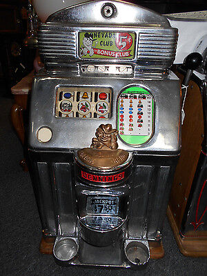 ANTIQUE ORIGINAL 1930-40 JENNINGS NEVADA CLUB 5 CENT SLOT MACHINE