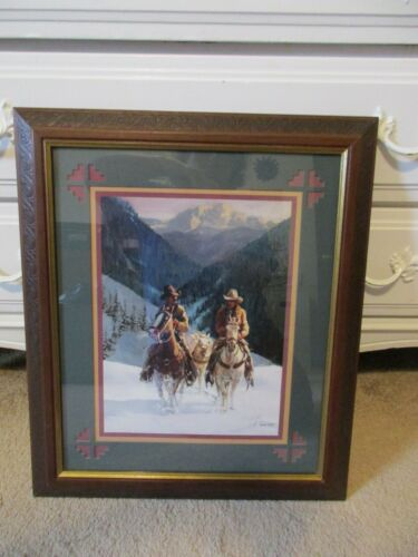HOME INTERIOR & GIFTS SNOWY PASS WESTERN/COWBOY PICTURE FRAMED/MATTED GARY ARTZT