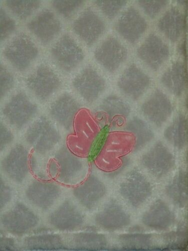 RN 67227 Swiggles/Cribmates? Gray Diamonds Pink Butterfly Blanket/Lovey