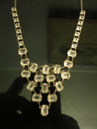 """Vintage Antique Art Deco Paste Glass Bezel Open Back 15"""" Choker Drop Necklace!"""