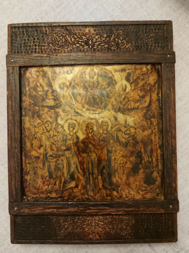 Antique Greek Byzantine Icon Ascension of Jesus Christ Hand painted!!!