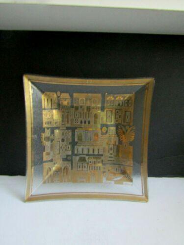 Vtg Georges Briard VILLAGE SCENE Gold Gilt Serving Bowl/ Platter